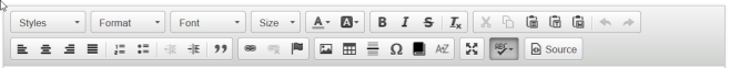 CKEditor toolbar with buttons using icons as labels.