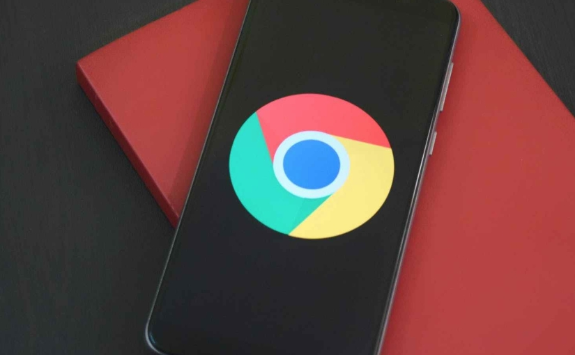 Chrome logo center screen on a smartphone.