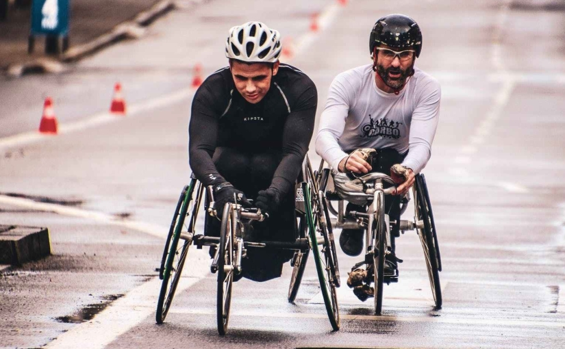 Two wheelchair racers.