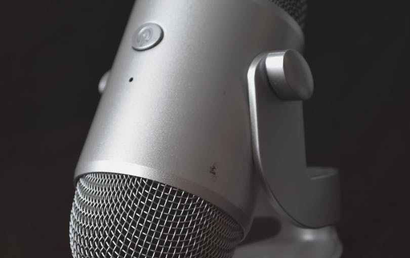 Close-up of a desk microphone.