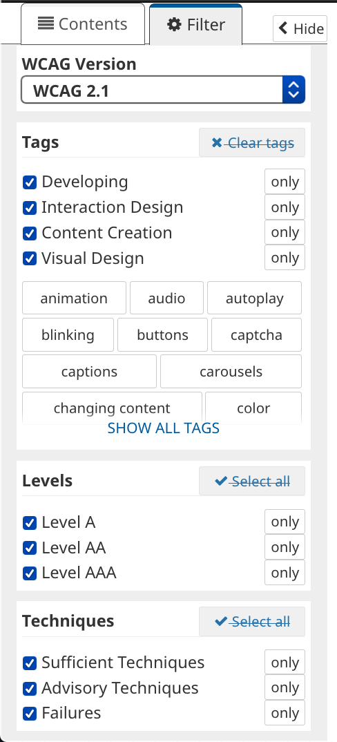 Filter tab open revealing options like version, tags, levels, and techniques.
